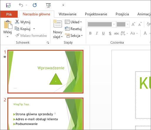 Program PowerPoint 2016 z zastosowanym motywem Biały.