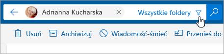 Zrzut ekranu przedstawiający przycisk Filtruj na pasku wyszukiwania