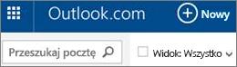 Pasek menu usługi Outlook.com