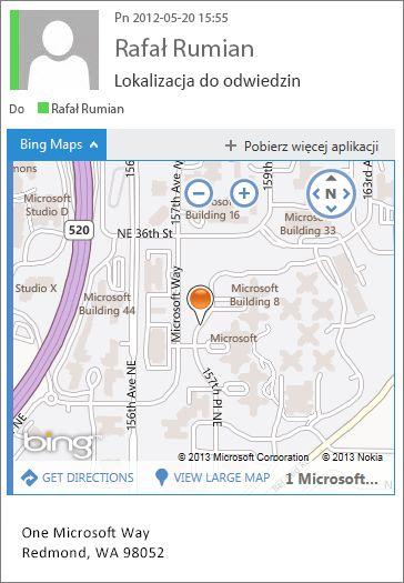 Wiadomość e-mail z aplikacją Mapy Bing pokazująca adres na mapie