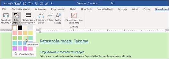Dokument programu Word z zielonym tłem i z otwartym selektorem kolorów strony