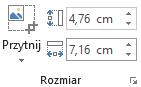 Przycisk Przytnij oraz pola Wysokość i Szerokość dla obrazów na wstążce pakietu Office 2016