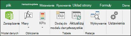 Power Pivot menu na wstążce programu Excel