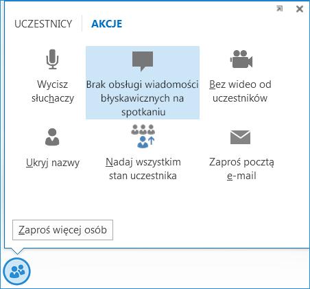 Zrzut ekranu: opcja Brak obsługi wiadomości błyskawicznych na spotkaniu