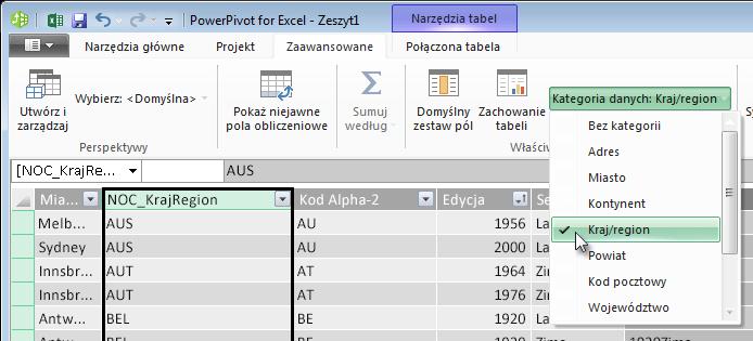 Kategorie danych w dodatku PowerPivot