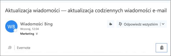 Zrzut ekranu przedstawiający fragment górnej części wiadomości e-mail z wyróżnioną ikoną sklepu. Kliknięcie ikony powoduje otwarcie okna Dodatki dla programu Outlook, gdzie można wyszukiwać i instalować dodatki.