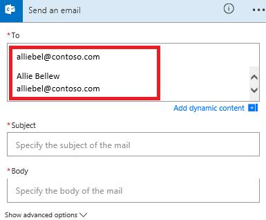Zrzut ekranu: Wybierz adres e-mail z listy