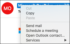 Otwórz informacje kontaktowe z wiadomości e-mail.
