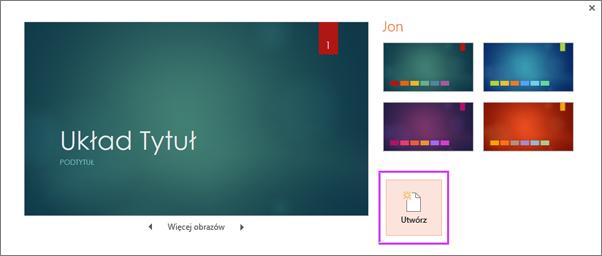Okno dialogowe tworzenia nowej prezentacji na podstawie motywu w programie PowerPoint