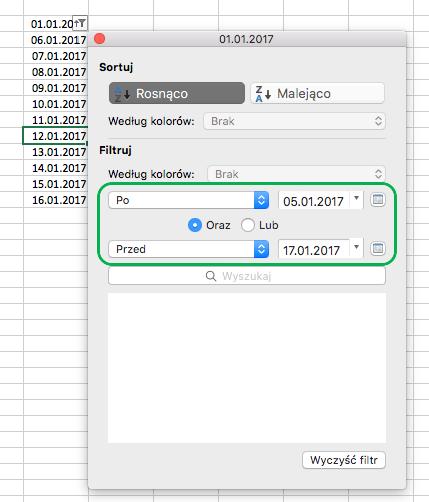 Filtrowanie wartości dat w programie Excel dla komputerów Mac