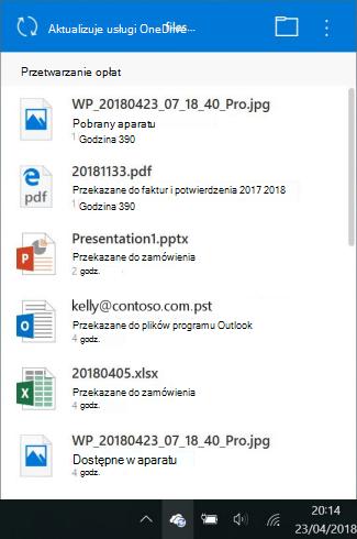Ekran zmiany przetwarzania OneDrive