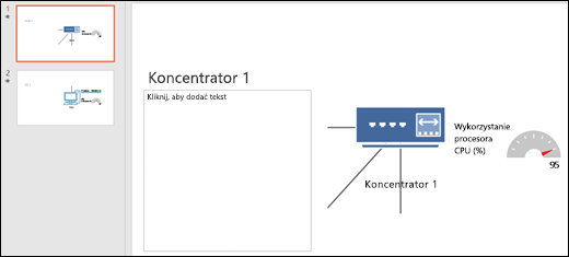 Zrzut ekranu przedstawiający slajd programu PowerPoint z tytułem i grafiką.