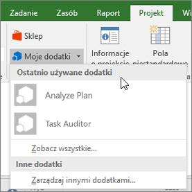 Zrzut ekranu: na karcie Projekt w obszar Moje dodatki z kursor obok listy rozwijanej ostatnio używane dodatki. Są wyświetlane nazwy kilka dodatków, a kliknięcie nazwy, aby uruchomić dodatek.