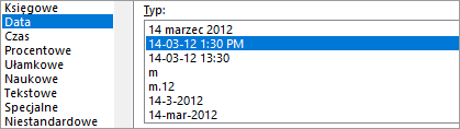 Okno dialogowe Formatowanie komórek, polecenie Data, typ 14-03-12 13:30