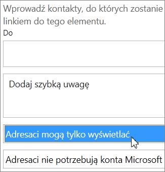 Opcja Adresaci mogą tylko wyświetlać w oknie dialogowym Zapraszanie osób