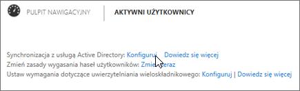 Wybierz pozycję Konfiguruj obok pozycji Synchronizacja z usługą Active Directory