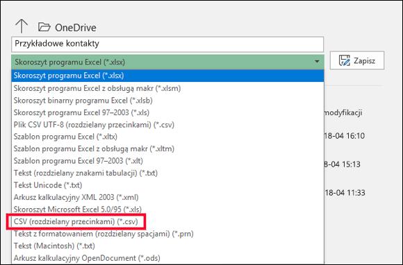 Zapisywanie pliku programu Excel jako pliku CSV.