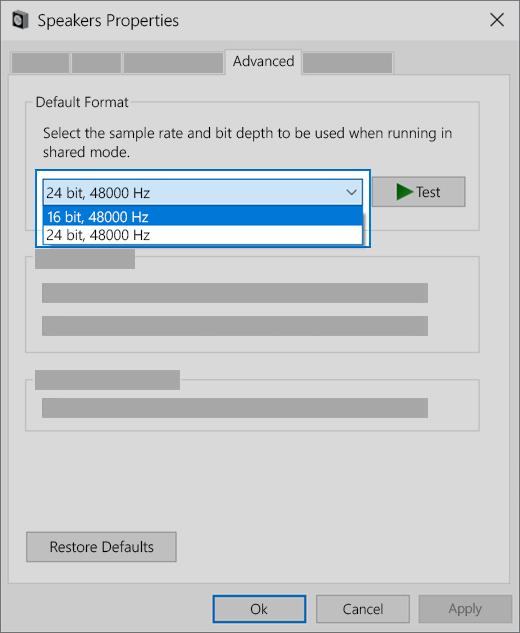 Zmienianie ustawienia formatu audio urządzenia audio