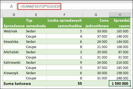 Formuła tablicowa z jedną komórką do obliczania sumy końcowej = suma (F10: F19 * G10: G19)