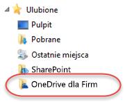 Wykaz ulubionych usługi OneDrive dla Firm w programie SP2016