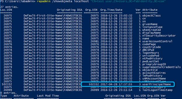 repadmin show user metadata