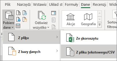 Opcja Z tekstu jest wyróżniona na karcie Dane.