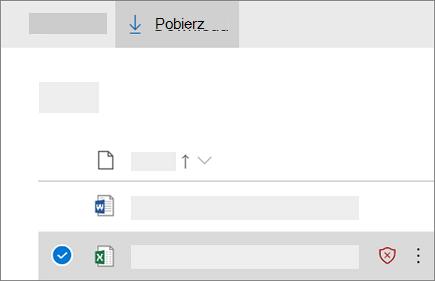 Zrzut ekranu przedstawiający pobieranie zablokowanego pliku w usłudze OneDrive dla firm