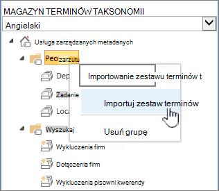 Importowanie zestawu terminów listy rozwijanej