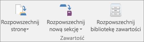 Ikony na karcie Notes zajęć, w tym ikony Rozpowszechnij stronę, Rozpowszechnij nową sekcję, Rozpowszechnij bibliotekę zawartości.