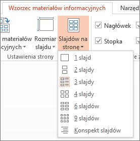 Opcje menu Slajdów na stronę