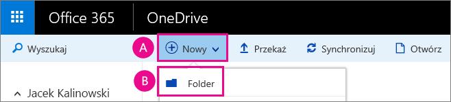 Tworzenie nowego folderu w usłudze OneDrive dla Firm.