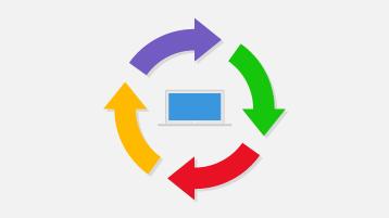 Ilustracja przedstawiająca 4 strzałki krążące wokół laptopa