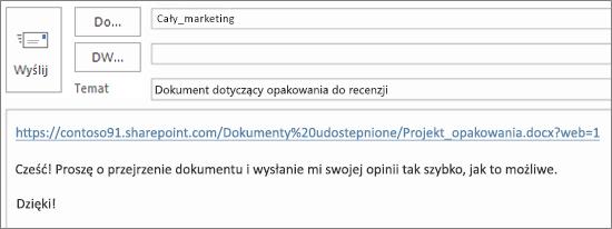 Pisanie wiadomości e-mail z linkiem