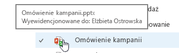 podręczne, gdy wskaźnik myszy na ikonie dokumentu