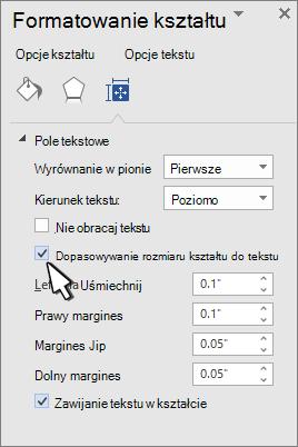 Kształt formatowanie kształtu z zaznaczonym rozmiarem tekstu