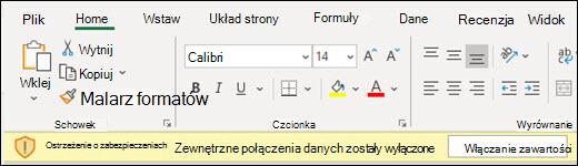 Zewnętrzne połączenia danych zostały wyłączone — zaznacz opcję Włącz zawartość, aby ją włączyć.