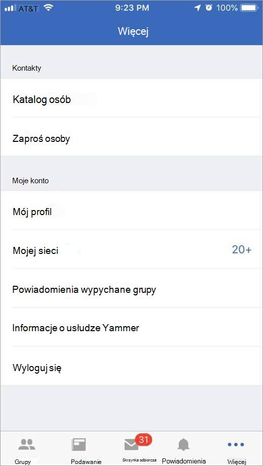 Strona usługi Yammer iOS zawierającym więcej opcji