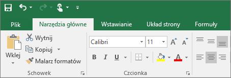 Kolorowa wstążka z motywem w programie Excel 2016