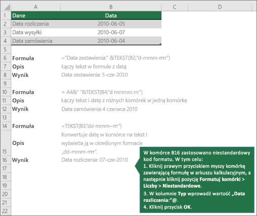 Przykłady przedstawiające, jak formuły mogą łączyć tekst z wartościami daty i godziny