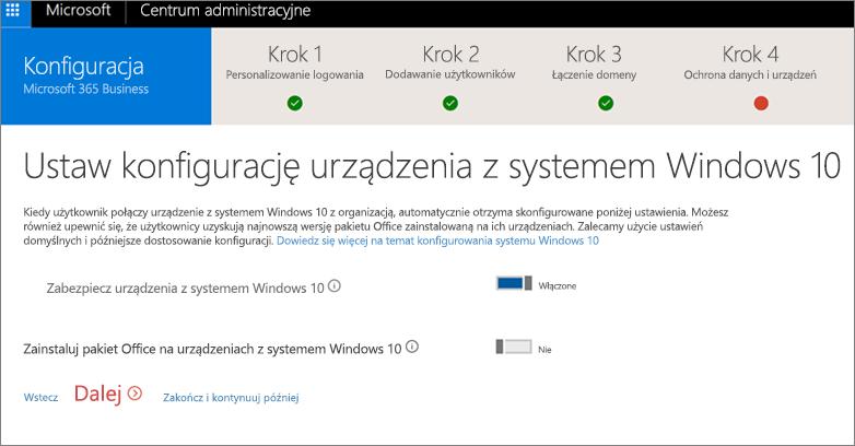 Zrzut ekranu przedstawiający stronę Przygotuj urządzenia z systemem Windows 10