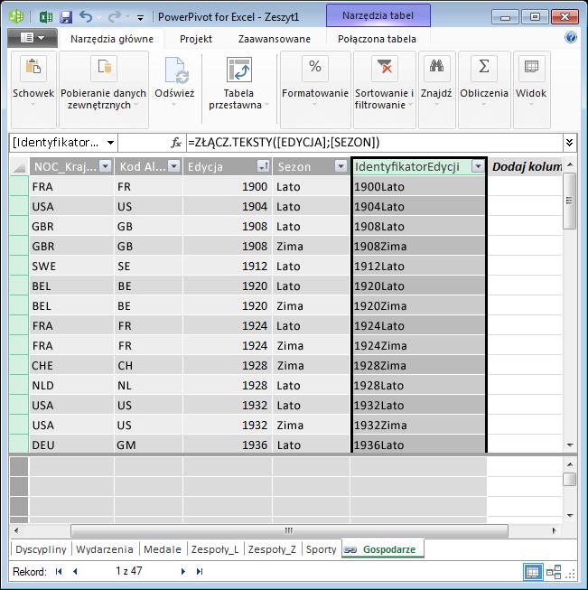 Tabela Hosts z utworzonym polem obliczeniowym DAX