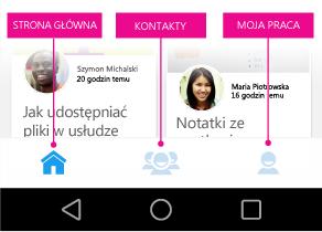 Delve dla systemu Android — menu główne
