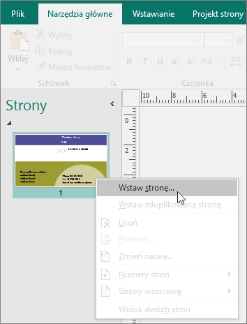 Wstawianie strony w okienku nawigacji strony w programie Publisher.