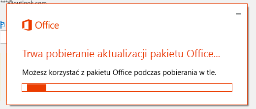 Okno dialogowe pobierania aktualizacji pakietu Office