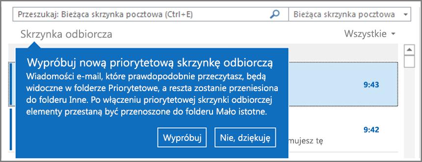 Obraz przedstawiający priorytetową skrzynkę odbiorczą po wdrożeniu dla użytkowników i ponownym otwarciu programu Outlook.