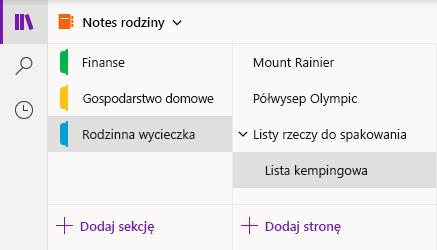 Interfejs nawigacji w programie OneNote dla systemu Windows 10