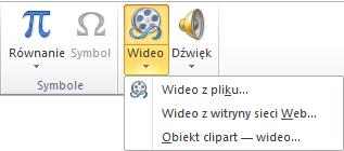 Przycisk na wstążce umożliwiający wstawienie klipu wideo online w programie PowerPoint 2010