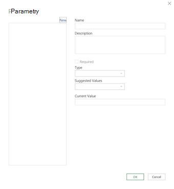 Okno dialogowe Parametry dodatku Power Query