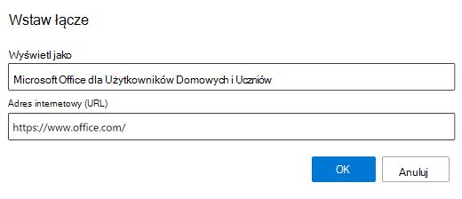 Wstawianie linku w Outlook.