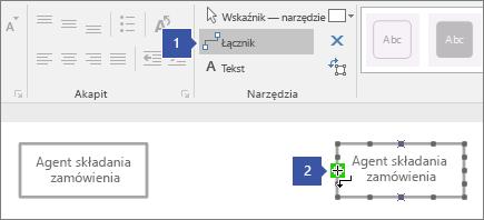 1 wskazująca narzędzia Łącznik 2 wskazująca kursor umieszczenie wskaźnika myszy na zielono wyróżniony punkt połączenia kształtu Linia życia